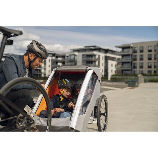 Kid Racer Twin, Fahrradanhänger Grau Kinder